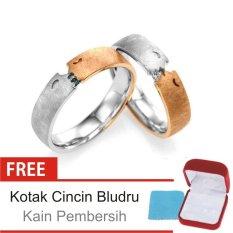 Cincin Kawin Couple Perak Lapis Rhodium - Rosegold E.06b - Silver Exclusive
