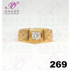 Cincin Lapis Emas Mata Permata Perhiasan Imitasi Gold 18K Yaxiya 269