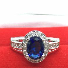 Beli Cincin Lapis Emas Putih Batu Biru Berlian Imitasi Elegan Mewah Cicilan