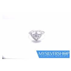 Cincin LOVE TRESSA Silver 925 - Berlapis Emas Putih - Size 5
