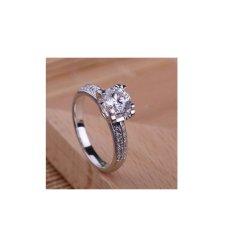 cincin nikah wanita model solitaire bahan emas putih 18k AuAg