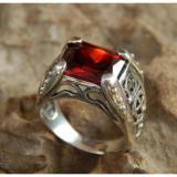 Beli Cincin Perak Kotak Batu Garnet Yang Bagus