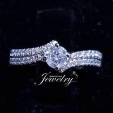 Cincin Pernikahan Emas 18K Berlian Asli Eropa Putih Tunangan Kawin Murah