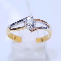 Cincin Pernikahan Emas Berlian Asli Eropa Putih Tunangan Kawin Murah