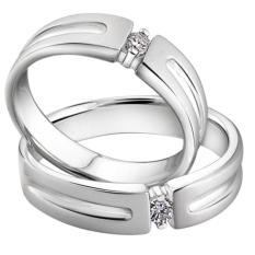 Cincin Pernikahan Emas putih 14k dan Palladium 50% - PE.01