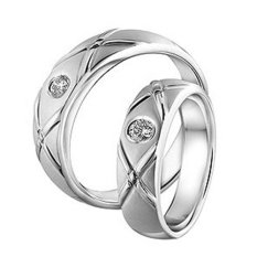 Cincin Pernikahan - Palladium 802 Spesial 18Karat - USA Diamond - Garansi 1 Tahun