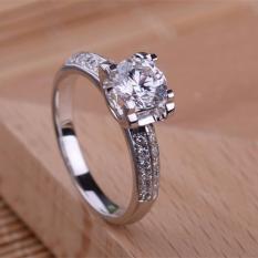 cincin pernikahan untuk wanita model solitaire bahan emas putih  9k