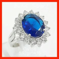 Cincin Sapphire Tr Lady Diana Kate Middleton Cw136 Perak 925 - Xnjibb