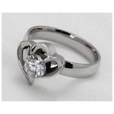 Cincin Titanium Wanita Clover Heart Crystal - LH01
