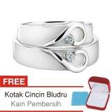 Jual Beli Online Cincin Tunangan Couple Perak Lapis Rhodium Doff Cc 10 Silver Exclusive