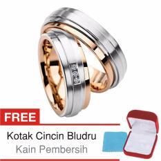Cincin Tunangan Couple Perak Lapis Rosegold - Rhodium D.07 - Silver Exclusive