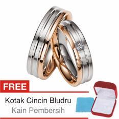 Cincin Tunangan Couple Perak Lapis Rosegold - Rhodium D.14 - Silver Exclusive