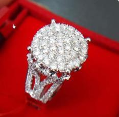 Cincin Tunangan Emas 18K Berlian Asli Putih Kawin Pernikahan Sl036