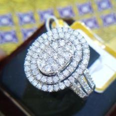 Cincin Tunangan Emas 18K Berlian Asli Putih Kawin Pernikahan Sl067