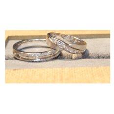 Cincin tunangan emas putih 14k AuAg