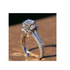 cincin  wanita model solitaire bahan emas putih 9k
