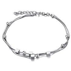 City Fashion Perhiasan Baru Harga Grosir Dipersonalisasi Platinum Berlapis Bola Kecil dan Cube Gelang Kaki untuk Wanita/wanita/gadis DZ202-Intl