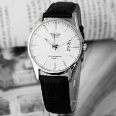 Free shipping Klasik Fashion Mewah Tali Kulit Hitam Calendar QUARTZ Mens Tanggal Wrist Watch-Intl