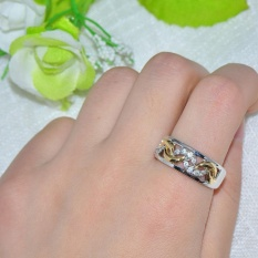 Berkelas Wanita Rhinestone Crystal Titanium Silver dengan Stripe Emas Cincin Kawin Cincin Perhiasan-Intl