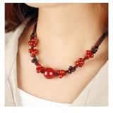 Promo Klavikula Retro Gaya Etnik Kalung Perhiasan Merah Batu Akik Warna Merah Tua International Tiongkok