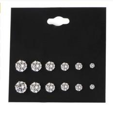 Clearance Harga Sunweb 6 Pair Wanita Lady Fashion Perhiasan Elegan Telinga Anting Stud Set (hitam)-Intl