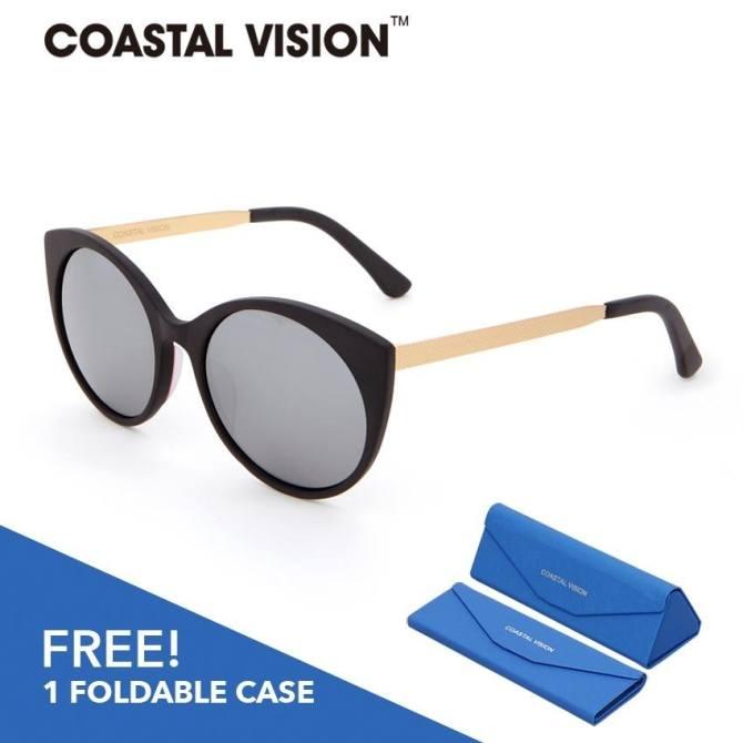 COASTAL VISION Terpolarisasi Wanita Hitam & Emas Sunglasses Cat Eye anti UVA/B Cermin lensa CVS5021