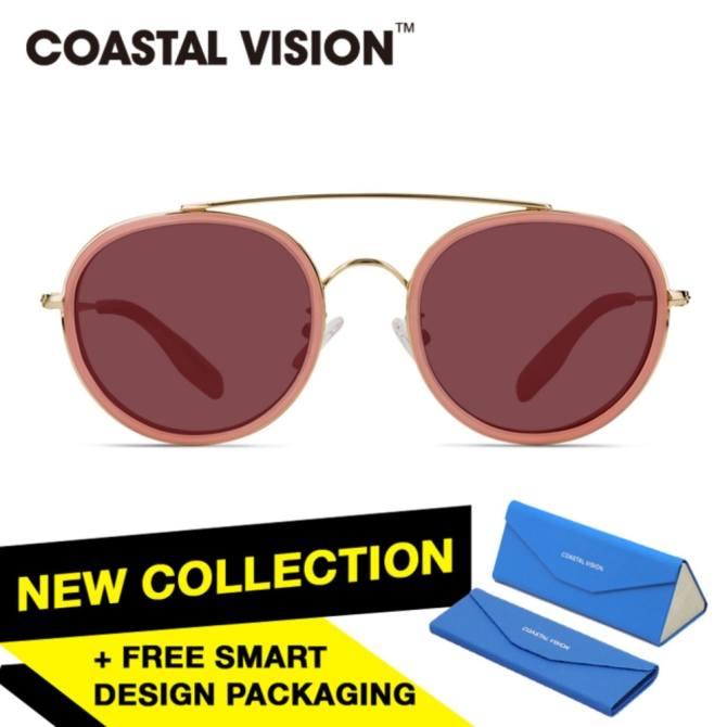 COASTAL VISION Kacamata Polarized Wanita Pink Bundar Lengan Kacamata Gold Proteksi UV 400 Lensa Pink CVS6413PK