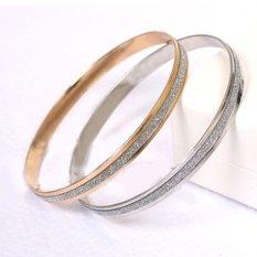 Cocotina 2 Buah Fashion Wanita Scrub Kilau Manset Gelang Perhiasan-emas And Perak