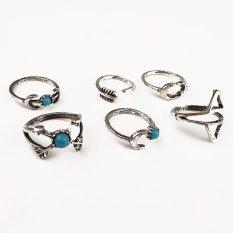 Diskon Cocotina 6 Buah Keren Bocah Perempuan Pirus Panah Pernyataan Midi Bulan Sekitar Set Perhiasan Branded