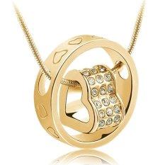 Jual Cocotina Charming Wanita Kristal Rantai Rhinestone Love Heart Ring Pendant Kalung テ Emas Import