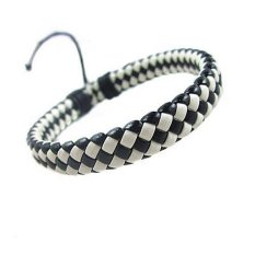 Cocotina Cool Men S Women Wrap Braided Faux Leather Bracelet Cuff Wrist Band Black And White Promo Beli 1 Gratis 1