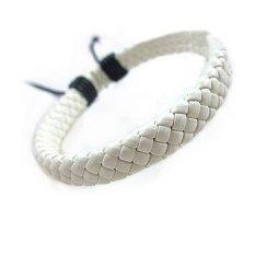 Harga Cocotina Keren Pria Wanita Wrap Dikepang Faux Leather Bracelet Cuff Wrist Band Putih Asli