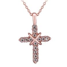 Cocotina Cross Yesus Kristus Kalung Rose Gold Warna Fashion Pendant Perhiasan Zirkonia Kristal-Internasional
