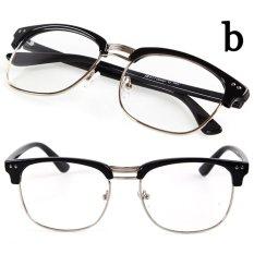 Beli Cocotina Fashion Vintage Retro Kacamata Setengah Bingkai Lensa Bening Aneh Pecandu Kacamata Menggunakan Terang Hitam And Perak Pakai Kartu Kredit