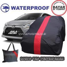 COD - Sarung Bodi Mobil Agya / Ayla Cover Body Waterproof Anti Air Selimut Penutup Pelindung List Merah