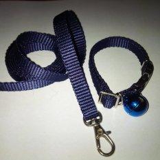 Collar/Kalung uk S + Leash Biru Dongker untuk Kucing, Kelinci, Musang, Puppy Small breed
