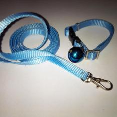 Collar/Kalung uk S + Leash Biru Muda untuk Kucing, Kelinci, Musang, Puppy Small breed