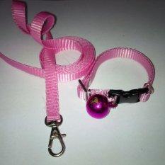 Collar/Kalung uk S + Leash Pink Muda untuk Kucing, Kelinci, Musang, Puppy Small breed