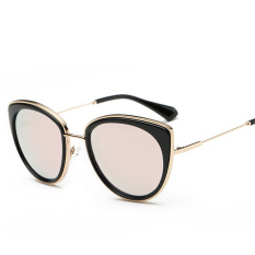 Warna FLM Pria dan Women Sunglasses Retro Trend Cat Eye Sunglasses Multi Warna Kacamata (pink)-Intl