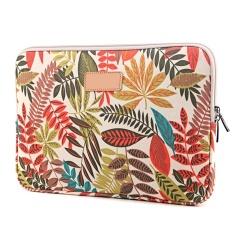 Pola Daun Berwarna Canvas Protective Case Pouch Bag untuk Apple MacBook Pro Air Acer Asus Dell IPad Lenovo Permukaan Universal 13 Inch Laptop Lengan Gaya D-Intl