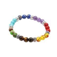 Colorful Natural Chakra Penyembuhan Keseimbangan 8mm Manik-manik Batu Gelang Pria Wanita Reiki Doa Batu Rantai Warna: Warna-warni-Internasional