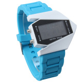 Diskon Cool Men Airplane Pilot Senter Led Alarm Karet Strap Sport Watch Biru Muda Not Specified Di Tiongkok