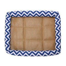 Pet Cool Kennel Mat Summer Dog Cat Bed Cushion With Kursi Rotan (Biru L)-Intl