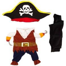Bajak laut keren gaya pakaian hewan peliharaan berpakaian dengan topi untuk anak anjing kucing atau Halloween kostum Cosplay pakaian pesta pakaian ukuran S - International