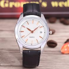 Costie Land - Jam Tangan Pria - Body Silver/White Dial -Costie Land -CL- 5500C-G-SW-TGL-(RoseGold)-Black Leather