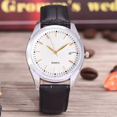 Costie Land - Jam Tangan Pria - Body Silver/White Dial -Costie Land -CL- 5500E-G-SW-TGL-(Gold)-Black Leather