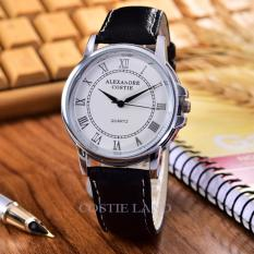 Costie Land - Jam Tangan Pria - Body Silver/White Dial- CL-5232G-SW-Black Leather