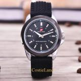 Jual Costie Land Swiss Army Tali Karet 3821R Sb Body Silver Black Dial Rubber Band