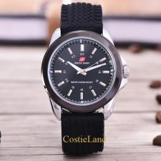 Diskon Besarcostie Land Swiss Army Tali Karet 3821R Sb Body Silver Black Dial Rubber Band