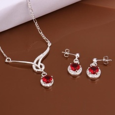 Kostum Perhiasan Online Women Romantis Tembaga Partai Kalung/Anting Kalung Earrings Air Drop Champagne Emas-Intl